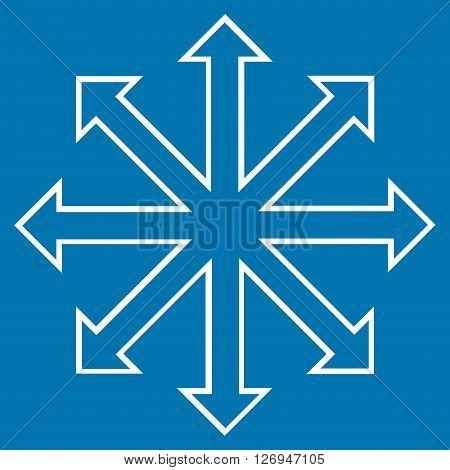 Maximize Arrows vector icon. Style is contour icon symbol, white color, blue background.