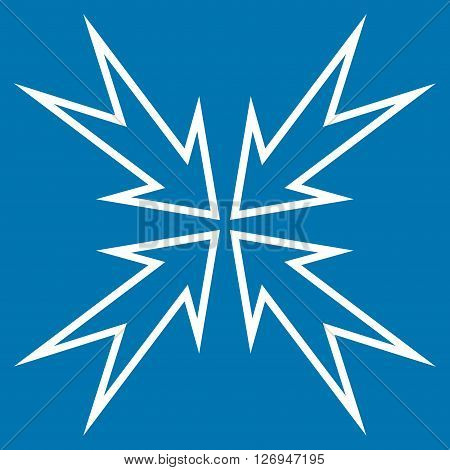 Meeting Point vector icon. Style is contour icon symbol, white color, blue background.
