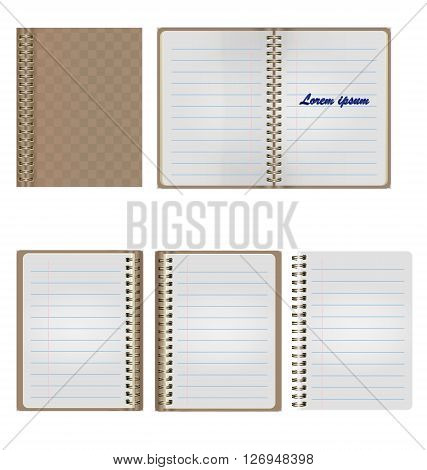 Set of Blank Realistic Spiral Notepad Notebook Isolated On White Background