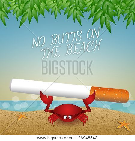 an illustration of funny crab with cigarette on the beach