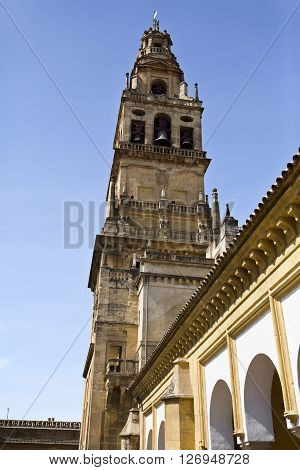 The Bell Tower also called the Tower of Alminar of the Mosque-Cathedral of Cordoba Spain