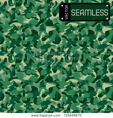 War Green Forest Camouflage Seamless Vector Pattern. Can Be Used For Wallpaper, Pattern Fills, Web P