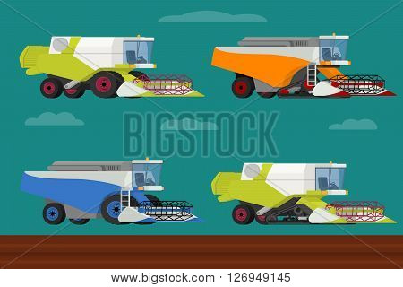 Vector set of agricultural modern combine harvesters collection. Illustration in flat design.