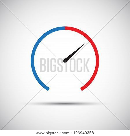 Simple thermometer icon pointer indicates the red part vector illustration