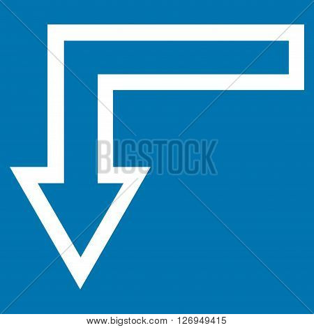 Turn Down vector icon. Style is thin line icon symbol, white color, blue background.