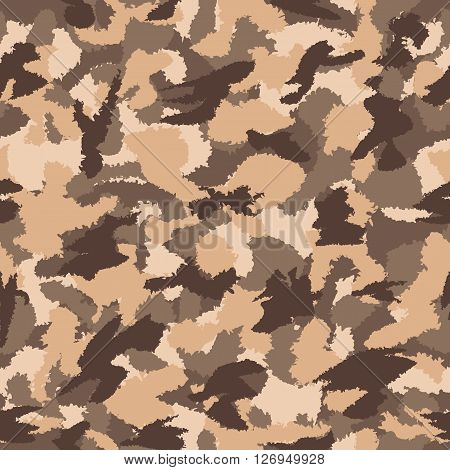 War Desert Brown Safari Camouflage Seamless Vector Pattern. Can Be Used For Wallpaper, Pattern Fills