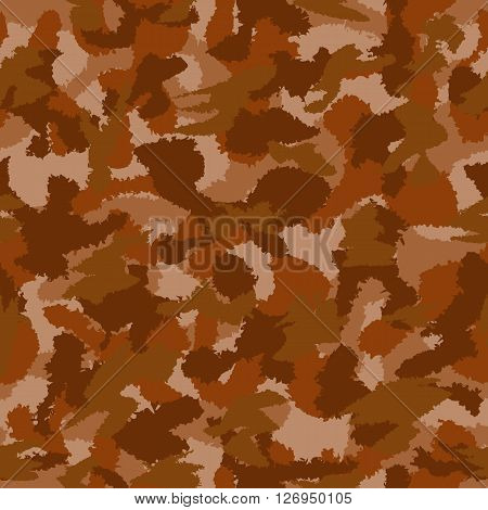 Vector War Brown Camouflage Seamless Vector Pattern. Can Be Used For Wallpaper, Pattern Fills, Web P