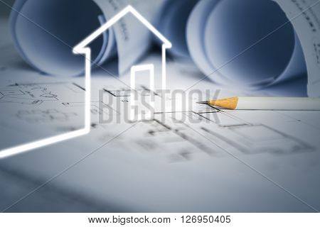 concept of dream house draw by designer with construction drawing as background