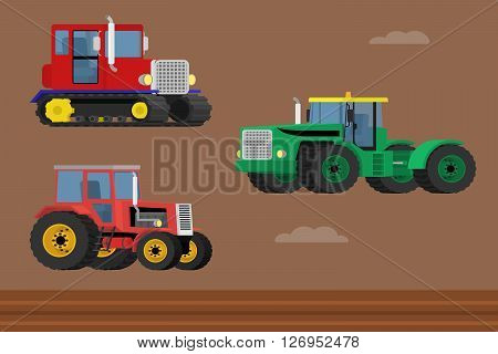 Agriculture machinery. Vector set of caterpillar tractor and wheeled farm tractors.