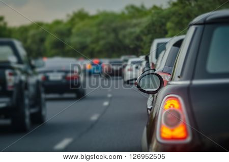 Traffic Jam With Row Of Cars On Express Way