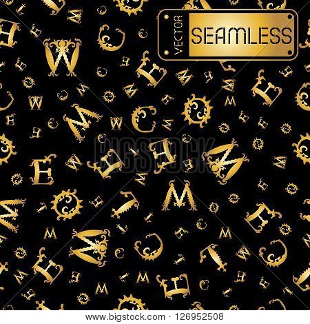Vector Seamless Gold Vintage Pattern With Curved Letters On Black Background. Vector Illustration