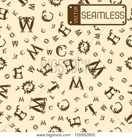 Vector Seamless Vintage Pattern With Brown Curved Letters On Beige Background. Vector Illustration