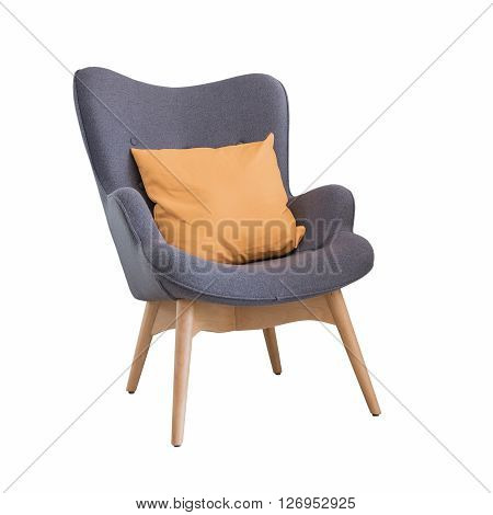 Modern Wooden Chair With Orange Pillow Isolate On White