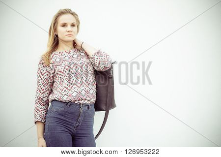 Attractive Fashionable Woman With Bag