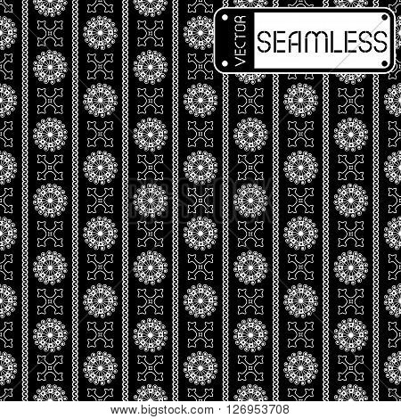 Vector Seamless White Vintage Ornamental Pattern On Black Background. Vector Illustration