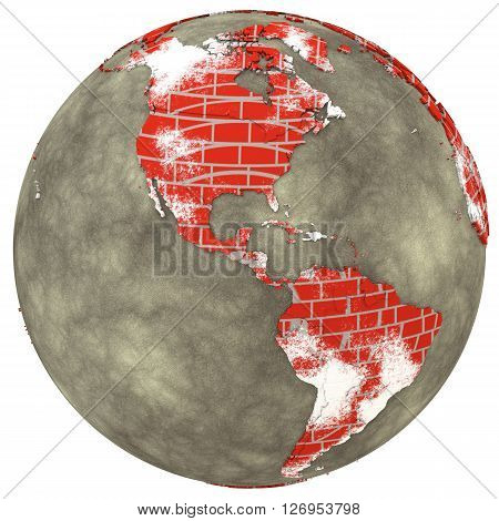 Americas On Brick Wall Earth