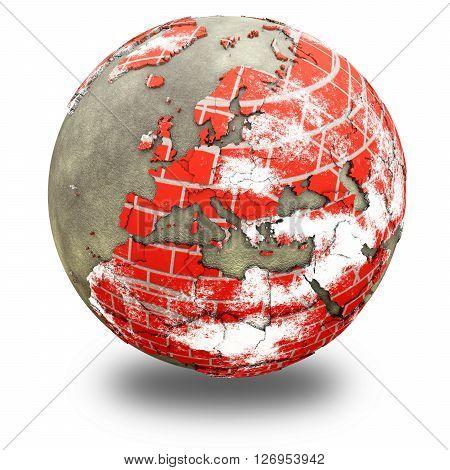 Europe On Brick Wall Earth