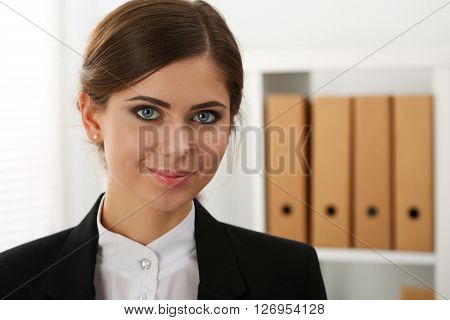 Beautiful Smiling Business Woman Standing At Office