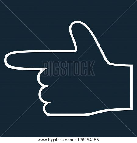 Hand Pointer Left vector icon. Style is outline icon symbol, white color, dark blue background.