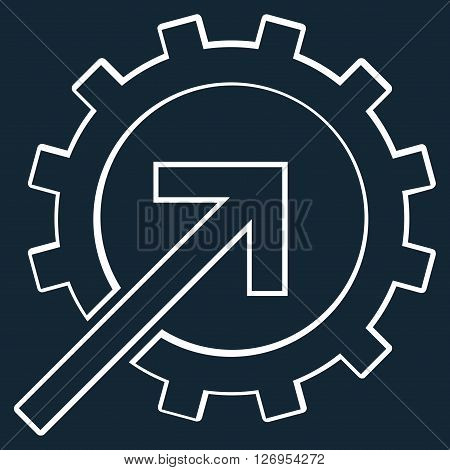 Integration Arrow vector icon. Style is stroke icon symbol, white color, dark blue background.