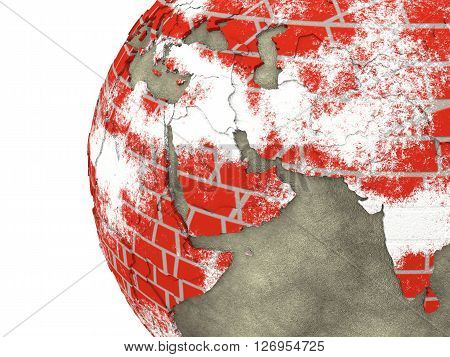Middle East On Brick Wall Earth