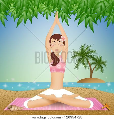 Woman in yoga meditation on the beach