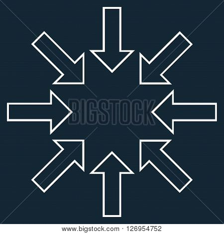 Pressure Arrows vector icon. Style is contour icon symbol, white color, dark blue background.
