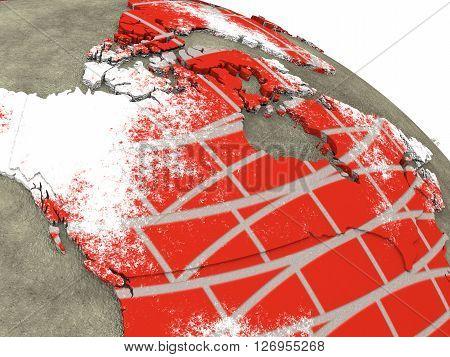 Canada On Brick Wall Earth