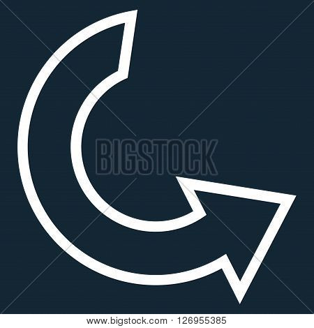 Rotate Ccw vector icon. Style is contour icon symbol, white color, dark blue background.