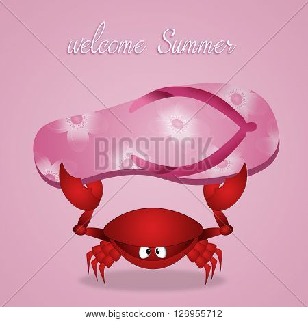 an illustration of Funny crab with flip-flops in summer