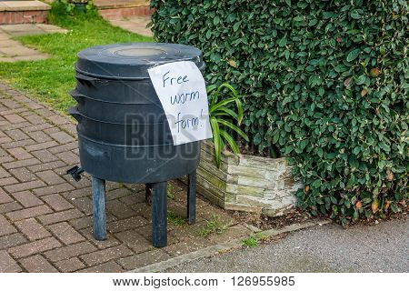 London United Kingdom - April 23 2016: Free worm farm offered on a street for collection
