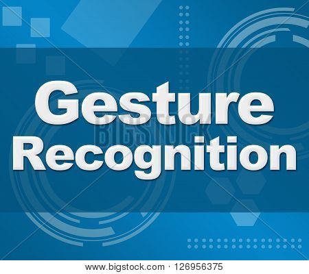Gesture recognition text written over abstract blue background.