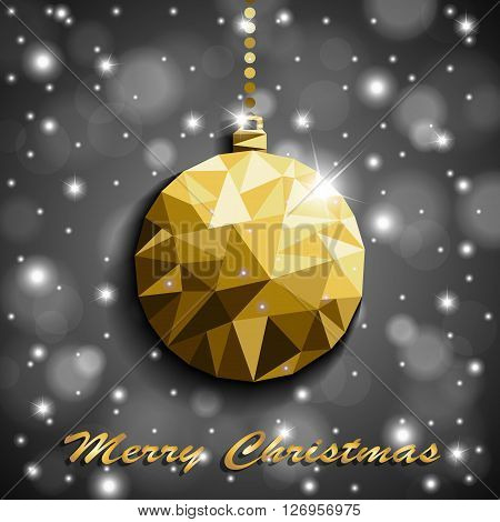 Origami Style Gold Christmas Toy With Shadow On Illuminated Silver Blurred Shiny Background. Vector
