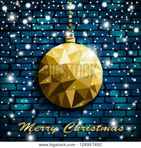 Origami Style Gold Christmas Toy With Shadow On Illuminated Blue Brick Wall Background With Snow. Ve