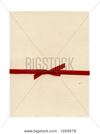 Paper Letter Or Invitation With Red Bow