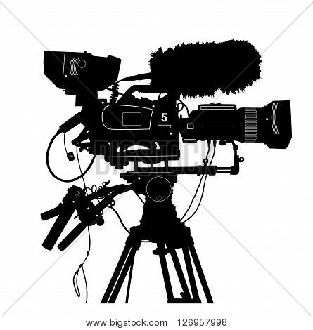Vector Detailed Professional Television Video Camera Isolated On White. Vector Illustration