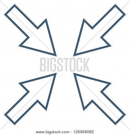 Compact Arrows vector icon. Style is stroke icon symbol, blue color, white background.