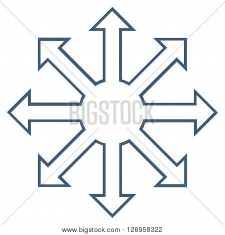 Enlarge Arrows vector icon. Style is thin line icon symbol, blue color, white background.