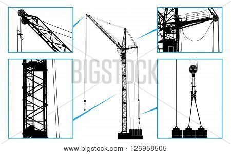 High Detailed Vector Hoisting Crane. Vector Illustration