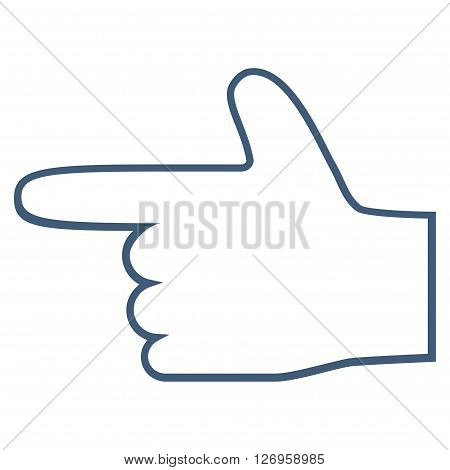 Hand Pointer Left vector icon. Style is outline icon symbol, blue color, white background.