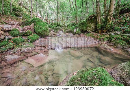 Italy, Udine, San Leonardo del Friuli - Rio Patok in summer has a few water