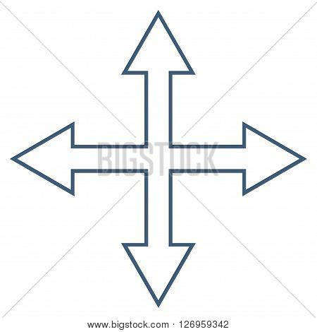 Maximize Arrows vector icon. Style is contour icon symbol, blue color, white background.