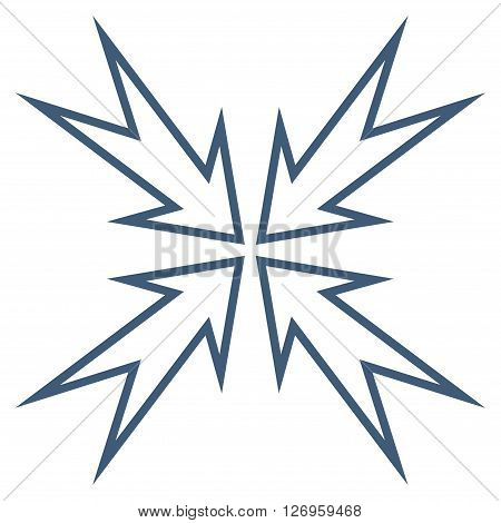 Meeting Point vector icon. Style is thin line icon symbol, blue color, white background.
