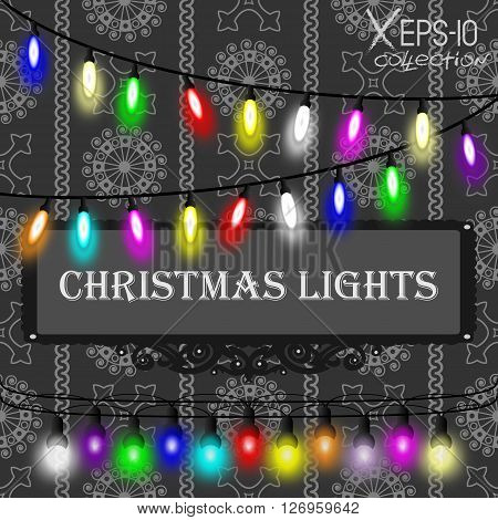 Christmas Lights Decorations Set On Grey Seamless Vintage Ornamental Pattern On Black Background. Ve