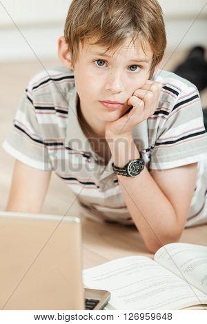 Thoughtful Young Teenage Schoolboy