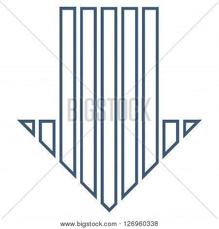 Stripe Arrow Down vector icon. Style is thin line icon symbol, blue color, white background.