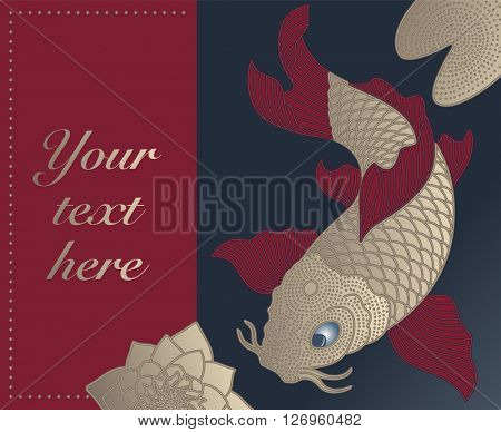 Card with Chinese Fish in the Pond
