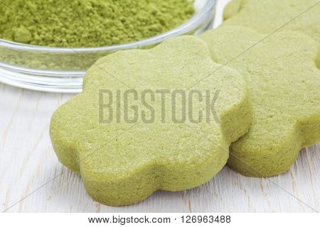 Homemade matcha green tea shortbread cookies close up
