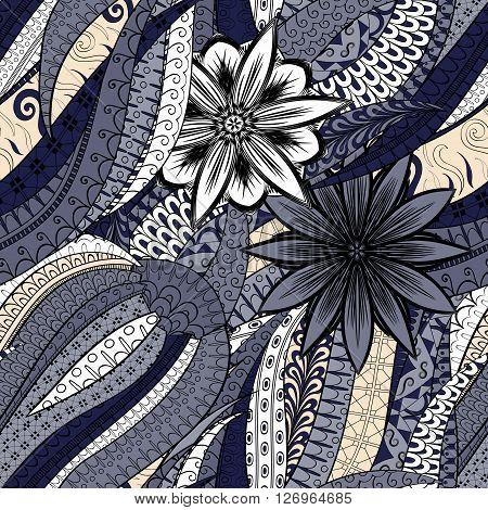 Tracery Seamless Calming Pattern. Mehendi Design. Neat Even Colorful Harmonious Doodle Texture. Alga
