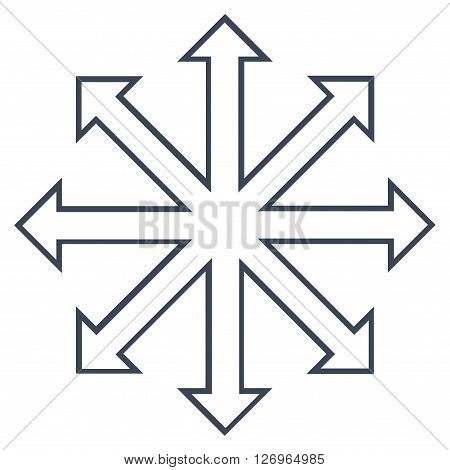Maximize Arrows vector icon. Style is thin line icon symbol, smooth black color, white background.